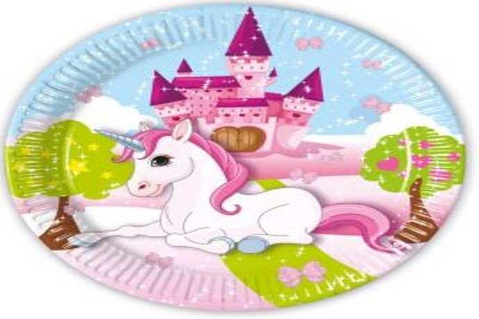 Plato  para fiesta de unicornio